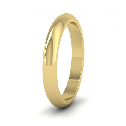 9ct Yellow Gold 3mm 'D' Shape Super Heavy Weight Wedding Ring