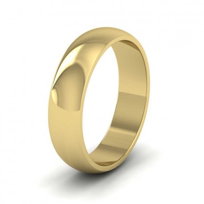 9ct Yellow Gold 5mm 'D' Shape Extra Heavy Weight Wedding Ring