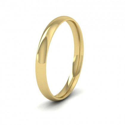 9ct Yellow Gold 2.5mm Court Shape (Comfort Fit) Classic Weight Wedding Ring
