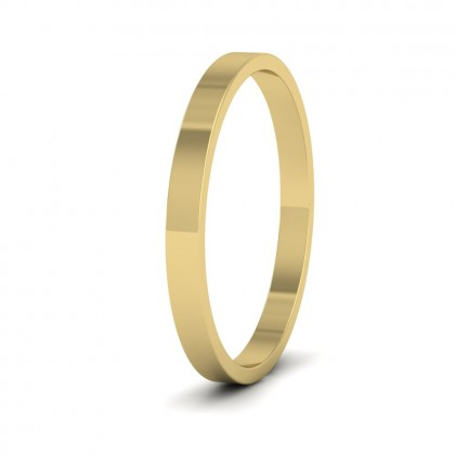 9ct Yellow Gold 2mm Flat Shape Classic Weight Wedding Ring