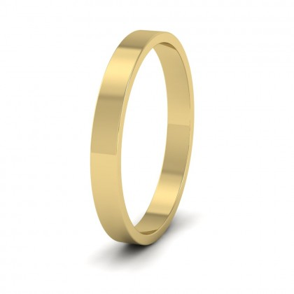 9ct Yellow Gold 2.5mm Flat Shape Classic Weight Wedding Ring