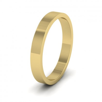 9ct Yellow Gold 3mm Flat Shape Extra Heavy Weight Wedding Ring