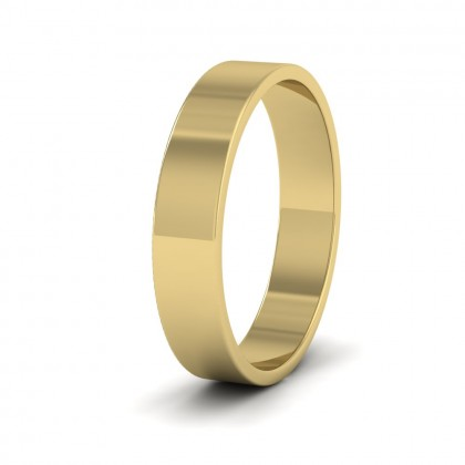 9ct Yellow Gold 4mm Flat Shape Classic Weight Wedding Ring