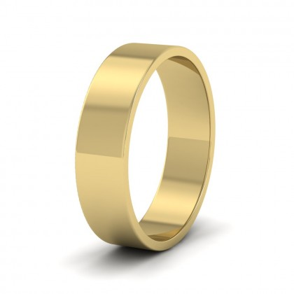 9ct Yellow Gold 5mm Flat Shape Classic Weight Wedding Ring