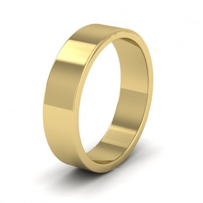 9ct Yellow Gold 5mm Flat Shape Extra Heavy Weight Wedding Ring