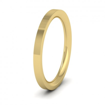9ct Yellow Gold 2mm Flat Shape (Comfort Fit) Super Heavy Weight Wedding Ring