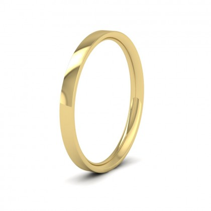 9ct Yellow Gold 2mm Flat Shape (Comfort Fit) Classic Weight Wedding Ring