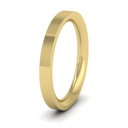 9ct Yellow Gold 2.5mm Flat Shape (Comfort Fit) Super Heavy Weight Wedding Ring