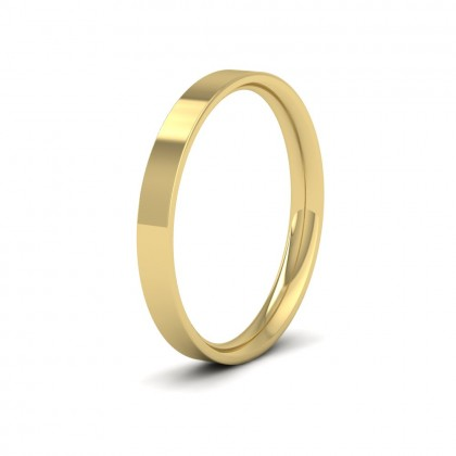9ct Yellow Gold 2.5mm Flat Shape (Comfort Fit) Classic Weight Wedding Ring