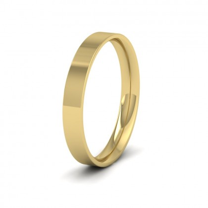 9ct Yellow Gold 3mm Flat Shape (Comfort Fit) Classic Weight Wedding Ring