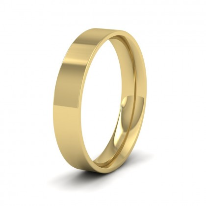 9ct Yellow Gold 4mm Flat Shape (Comfort Fit) Classic Weight Wedding Ring