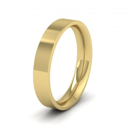 9ct Yellow Gold 4mm Flat Shape (Comfort Fit) Extra Heavy Weight Wedding Ring