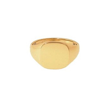9ct Yellow Gold Gentlemans Plain Extra Heavy Cushion Signet Ring