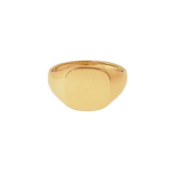 9ct Yellow Gold Gentlemans Plain Heavy Cushion Signet Ring