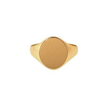 9ct Yellow Gold Gentlemans Plain Heavy Oval Signet Ring