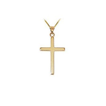 9ct Yellow Gold Plain Cross and Chain