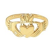 9ct Yellow Gold Plain Childrens Claddagh Ring