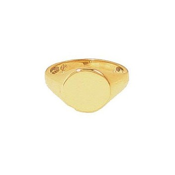 9ct Yellow Gold Plain Round Signet Ring