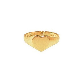 9ct Yellow Gold Ladies Plain Heart Signet Ring