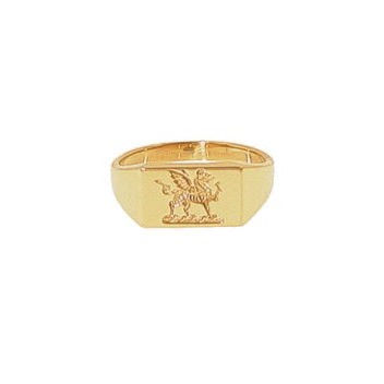 9ct Yellow Gold Welsh Oblong Dragon Seal Signet Ring