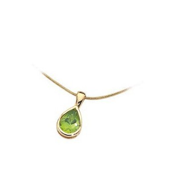 9ct Yellow Gold Peridot Teardrop Pendant and Chain Necklace