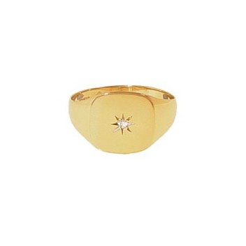 9ct Yellow Gold Gentlemans Diamond Set Heavy Cushion Signet Ring