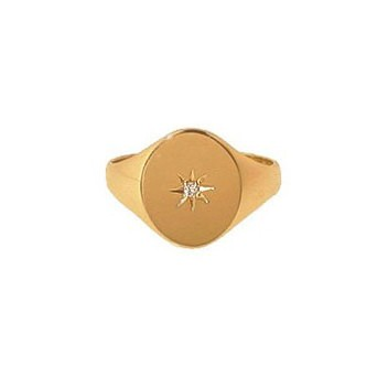 9ct Yellow Gold Gentlemans Diamond Set Heavy Oval Signet Ring