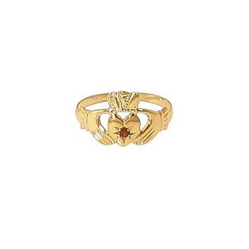 9ct Yellow Gold Garnet Set Ladies Claddagh Ring