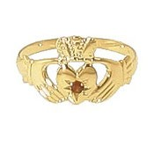 9ct Yellow Gold Garnet Set Childrens Claddagh Ring
