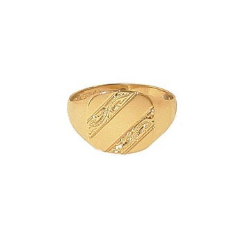 9ct Yellow Gold Engraved Cushion Signet Ring