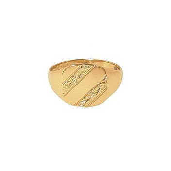 9ct Yellow Gold Gentlemans Bar Engraved Heavy Cushion Signet Ring