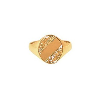 9ct Yellow Gold Gentlemans Engraved Heavy Oval Signet Ring