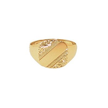 9ct Yellow Gold Gentlemans Engraved Heavy Cushion Signet Ring
