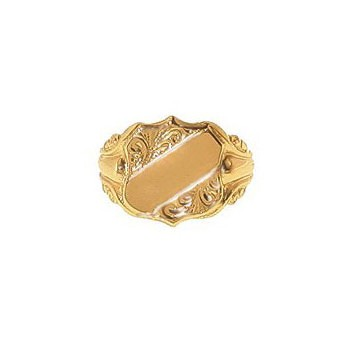 9ct Yellow Gold Gentlemans Embossed Shoulder and Engraved Shield Signet Ring