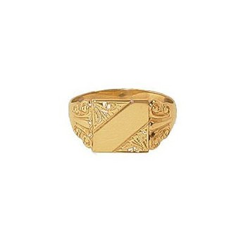 9ct Yellow Gold Top and Bottom Engraved Square Signet Ring