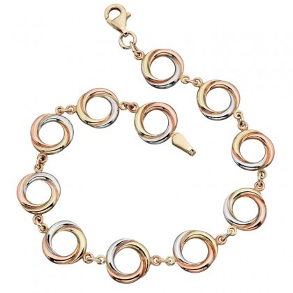 9ct Yellow, White And Rose Gold Plain Circular Link Bracelet.