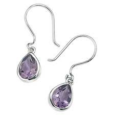 925 Sterling Silver Amethyst Teardrop Earrings
