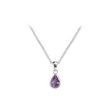 925 Sterling Silver Amethyst Teardrop Pendant and Chain Necklace