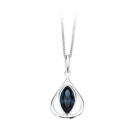 Sterling Silver Dark Blue Swarovski Crystal Set Pendant