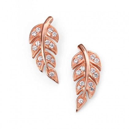 Sterling Silver, Rose Gold Plated Leaf Earrings Set With Cubic Zirconia.