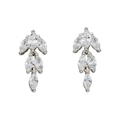 Sterling Silver Cubic Zirconia Set Dangling Stud Earrings.