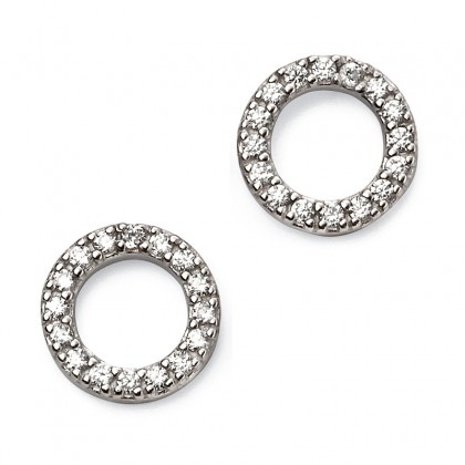 Cubic Zirconia Set Open Stud Earrings In Sterling Silver.