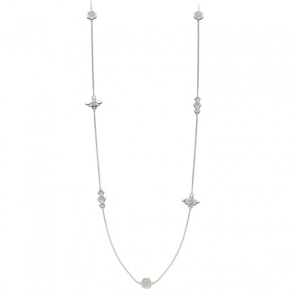 Sterling Silver Extra Long Necklace Set With Cubic Zirconia And With A Honeycomb And Bee Design.