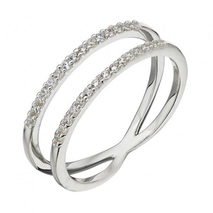 Sterling silver double row ring set with cubic zirconia.