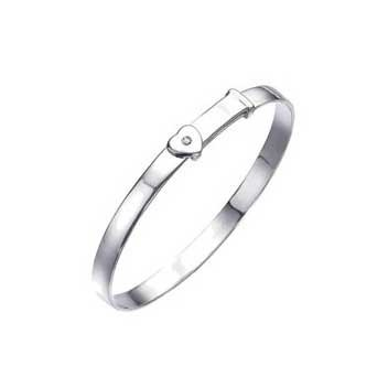 925 Sterling Silver Adjustable Heart Bangle