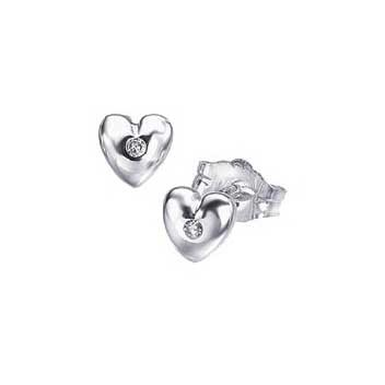 925 Sterling Silver Diamond Heart Earrings