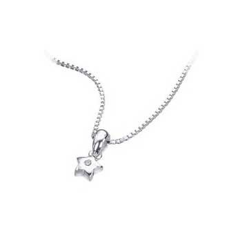 925 Sterling Silver Diamond Star Pendant and Chain Necklace