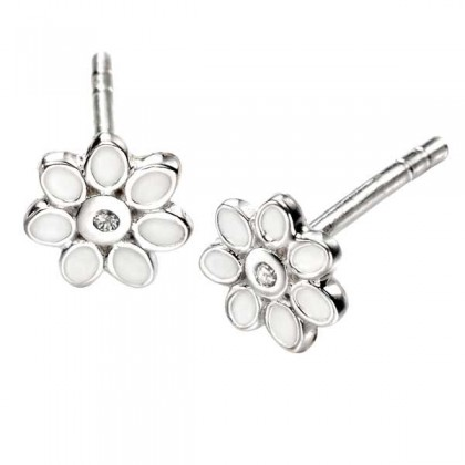 Sterling Silver Flower Enamelled and Diamond Earrings