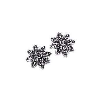 925 Sterling Silver Marcasite Flower Earrings