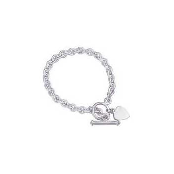 925 Sterling Silver Toggle Bar Charm Bracelet